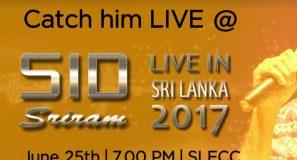 Sid Sriram Live in Concert' on 25th June at SLECC.